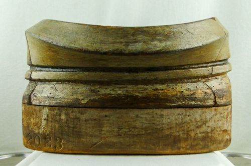 Millinery - Wooden Hat Block, 5 Part Puzzle Double Brim Block with Stand 038
