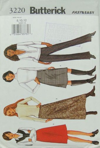 Butterick 3220 Fast and Easy Misses Petite Skirt and Pants