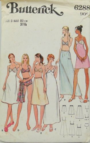 Butterick 6288 Misses Full Slip, Petticoat, Bra and Briefs