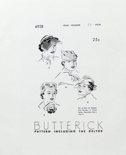 Butterick 6928 Reproduction Pattern Set of hats for Women and Misses