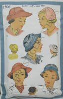 McCall's Reproduction Pattern 1506 Ladies and Misses High Fashion Hats in 3 Styles
