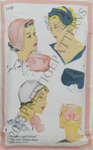 McCall's Reproduction Pattern 1690 Misses Hats and Theatre Bags