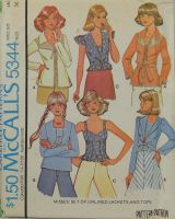 McCall's Carefree Patterns 5344 Misses Set of Unlined Jackets and Tops
