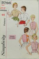 "Simplicity 3766 ""Simple to Make"" Teen Blouse"