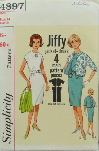 Simplicity 4897 Misses One Piece Jiffy Dress and Reversible Jacket