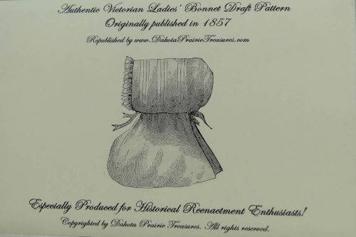 Authentic Victorian Ladies Bonnet Draft Pattern 1857